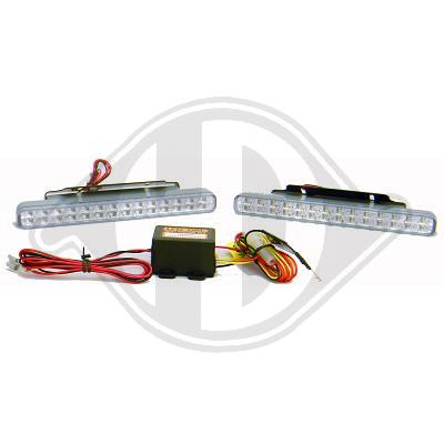 Kit 2 lampes diurnes 203x23x30 mm chrome 28 LEDs